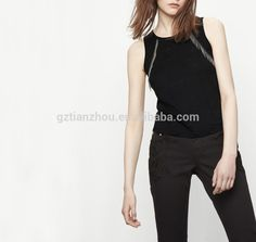 Guangzhou clothing OEM 100% Linen rounded neckline wide straps women Vest top with metallic fringing