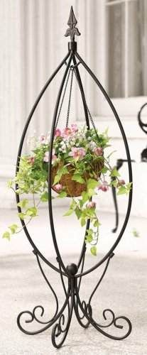collections etc .com~ Fleur-de-lis Hanging Basket Plant Stand