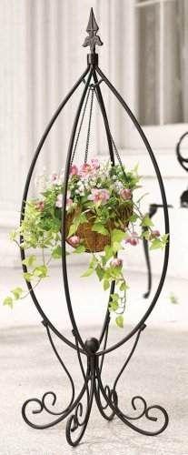 collections etc .com~ Fleur-de-lis Hanging Basket Plant Stand