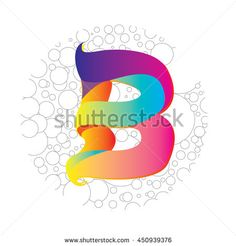 Letter B logo in bubble frame. Colorful vector design for banner, presentation, web page, app icon, card, labels, posters, and publication - stock vector