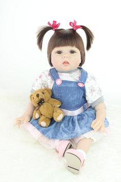 22 inch 55 cm Magnetische Mund Reborn Baby Puppe Hohe Vinyl Lebensechte Spielzeug Geschenk für Kinder Weihnachtsgeschenk Blau Hohe Perücke(China (Mainland))