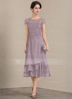 3d8707a9ffb   139.00  A-Line Princess Scoop Neck Tea-Length Chiffon Lace Mother of the Bride  Dress (008143361)