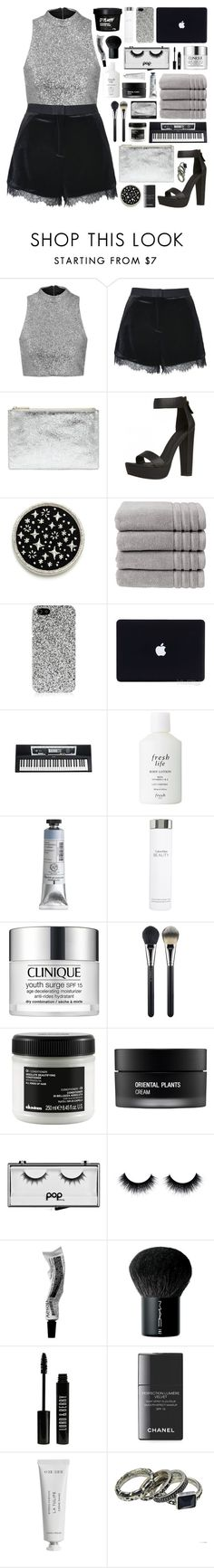"""""""//shimmer//"""" by bananafrog ❤ liked on Polyvore featuring Topshop, Whistles, Christy, Yves Saint Laurent, Yamaha, Fresh, Calvin Klein, Clinique, MAC Cosmetics and Davines"""