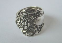 Sterling Silver Spoon Ring Ornate Fork Jewelry -- Carnation Stratford  ---. Made to your requested size.Spoon and Fork Jewelry.. $49.00, via Etsy.