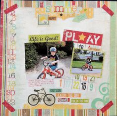"Journaling: One of your favorite things to do this summer was ride your bike at the park. I loved Skrapaddict's layout ""My First Big Boy Bike"" so much that I had to get this collection for my pics of Andrew riding his bike! Kids Scrapbook, Scrapbook Pages, Digital Scrapbooking, Scrapbooking Ideas, Paper Place, Scrapbook Layout Sketches, Simple Stories, Happy Fun, Summer Fun"