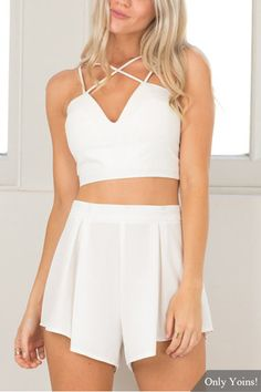Sexy White V-neck Crop Top & Shorts Co-ord