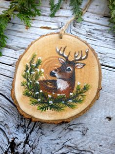 Peeking Deer II: Rustic Tree Ornament by AliceCEades on Etsy