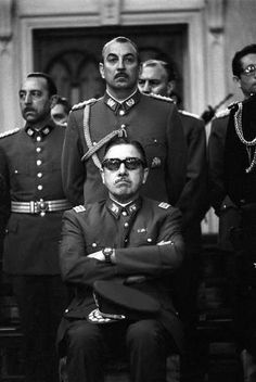 Pinochet with his henchmen in the 1970s ~ military dictatorships of the likes of Pinochet, Videla in Argentina and Stroessner in Paraguay. During Videla's 'Dirty War' in Argentina from 1976 to 1983 it is estimated some 20,000 people disappeared; human rights groups claim the figure is closer to 30,000.