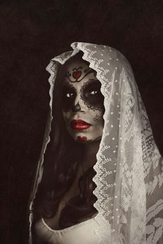 Beautiful Day Of The Dead Of Female In White