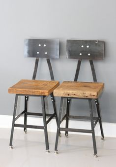 Set of 2 - Urban Industrial Reclaimed Urban Wood Bar Stool Chair w/ Steel Back - FREE SHIPPING