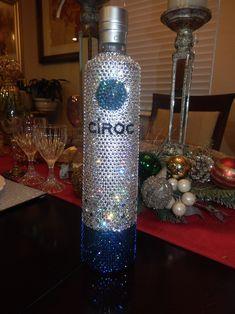Ciroc blue all Swarovski I use more than 3000 swaroski stunning Glitter Wine Bottles, Bling Bottles, Alcohol Bottles, Wine Bottle Crafts, Vodka Bottle, Alcohol Bottle Decorations, Bedazzled Bottle, Decorated Liquor Bottles, 21st Birthday Presents