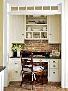 A Kitchen Office nook - love the brick backsplash with white cabinets and bin pull hardware. Kitchen Desks, New Kitchen, Kitchen Office Nook, Kitchen Brick, Kitchen Corner, Kitchen Pantry, Kitchen Reno, Kitchen Remodeling, Kitchen Living