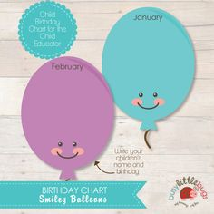 Balloon Birthday Chart for Child Educators by BUSYLITTLEBUGSshop, $6.95