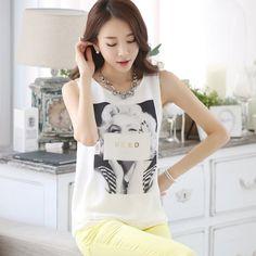 Buy TE1530WSSP Korean fashion print sleeveless chiffon tops