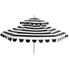 Daiana Two-Tier Patio Umbrella White/Black Acrylic / Lucite Outdoor... ($489) ❤ liked on Polyvore featuring home, outdoors, patio umbrellas, black patio umbrella, white umbrella base, black outdoor umbrella, outdoor umbrella and outdoor patio umbrellas