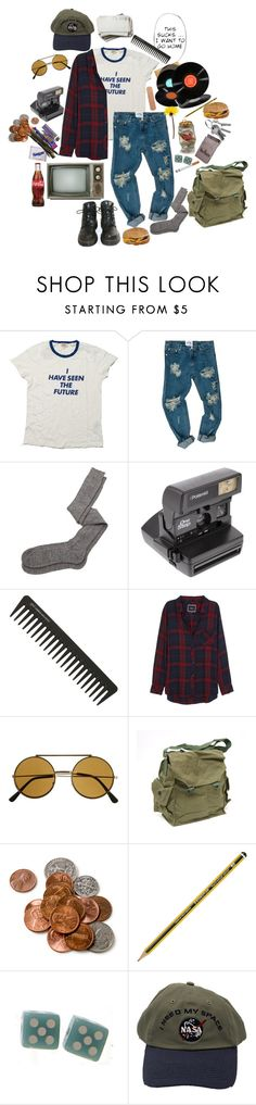 """Vintage nerd"" by causingpanicatthetheater on Polyvore featuring Levi's, Aiayu, Dr. Martens, Impossible Project, GHD, Rails and vintage"