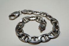 New to MyVtgJewelryShop on Etsy: Rugged Sterling Bracelet Handsome Matte Finish Vintage Men's Link-Bracelet Gift for Him Affordable Jewelry on Etsy (49.92 USD)