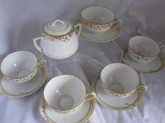 Hand Painted Nippon Tea Set - Cups/Saucer/Sugar Bowl #Nippon