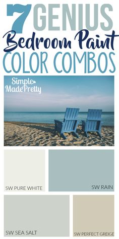Need Help Choosing a Paint Color for Your Bedroom? I love these bedroom paint color ideas! I used these paint colors for the bathroom but these blue paint colors will look good in our living room and kitchen too! I love a beach themed bedroom! Paint Color Combos, Blue Paint Colors, Interior Paint Colors, Paint Colors For Home, Interior Design, Coastal Paint Colors, Beach Color Schemes, Coastal Color Palettes, Accent Colors