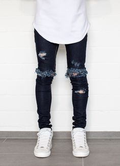 BLUE Distressed Denim Super Skinny Stretch