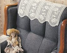 Peacock chair set crochet pattern via etsy create crochet home rose filet chair set crochet pattern doily home decor p 275 dt1010fo