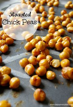 Perfectly roasted and lightly salted chick peas are a delicious high protein, high fiber snack!