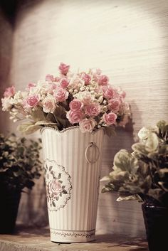 beautiful flowers and vase