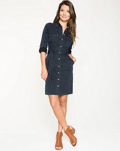 Rinse+Denim+Belted+Shirt+Dress