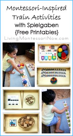 Montessori-inspired train activities for toddlers and preschoolers created using free printables and Spielgaben educational toys; post includes Montessori Monday permanent collection