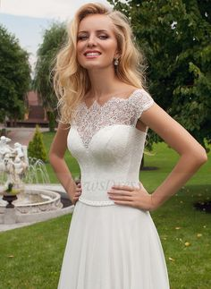 A Line Princess Off The Shoulder Sweep Train Beading Chiffon Lace White Wedding DressesWhite