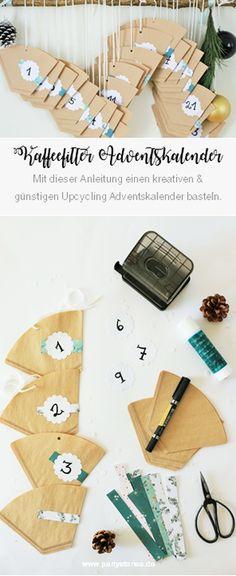 DIY Upcycling Adventskalender Idee mit Kaffeefilter zum Aufhängen selber machen. Mit dieser Schritt-für-Schritt Anleitung einen kreativen Adventskalender für Kinder, den Mann, den Freund, die Freundin, die Frau und alle Lieblingsmenschen selber machen! // www.Partystories.de // #weihnachten #adventskalender #adventskalenderbasteln #adventskalenderideen #upcycling #Kaffeefilter #bastelnweihnachten