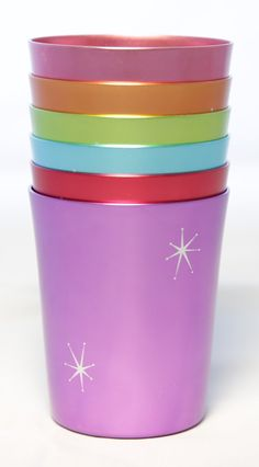 Starburst Anodized Aluminium Cups Set of 6