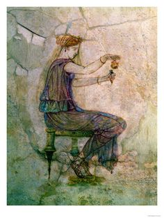 I keep wondering, how gifted ancient artists were! This painting with a girl blending oils is extremely natural.