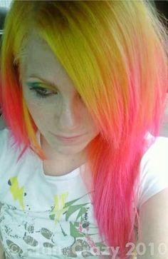 hair, hair color, multi-colored hair, yellow hair, pink hair, yellow, pink