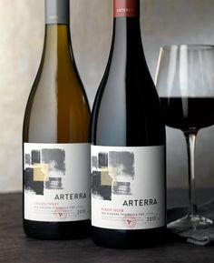 Arterra, Constellation Brands Canada - Designed by CF Napa Brand Design Wine Bottle Design, Wine Label Design, Wine Bottle Labels, Wine Packaging, Packaging Design, Branding Design, Pinot Noir, Label Art, Constellation Brands