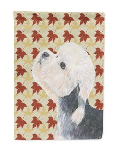 Dandie Dinmont Terrier Fall Leaves Portrait Flag Garden Size