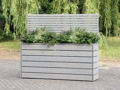 Pflanzkasten Holz Mit Sichtschutz   Element, Länge: 212 Cm, Farbe:  Transparent Grau