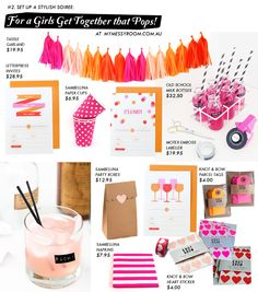 My Messy Room 101 Series / The Art of Entertaining: Pink Parties, Birthday Parties, Tassle Garland, Orange Party, Party Scene, Letterpress Invitations, Party In A Box, Lets Celebrate, Party Time