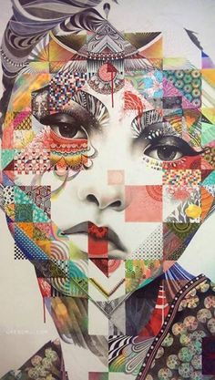 I LOVE this piece. It is very different and the emotion on the girl's face is very confusing. I think trying to understand the emotion is what makes it very interesting. I also enjoy the squares within the face and would love to know how to create this myself! The colors are great too!