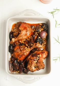 Roast chicken with prunes and pine nuts