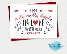 Printable Relationship Card - I am truly madly deeply in love with you - Instant PDF Download