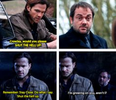 "[gifset] 9x16 Blade Runners ""Shut the hell up!"" Sam Winchester and Crowley - supernatural"