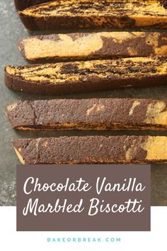 Chocolate Vanilla Marbled Biscotti combine chocolate and vanilla into a deliciously dunk-able cookies! These go great with coffee, tea, hot chocolate, or even a cold glass of milk. - Bake or Break Delicious Cookie Recipes, Best Cookie Recipes, Baking Recipes, Dessert Recipes, Vegetarian Chocolate, Chocolate Recipes, Hot Chocolate, Chocolate Biscotti Recipe, Chocolate Cookies
