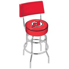 "New Jersey Devils 30"" Chrome Double Ring Swivel Bar Stool with a Back - $154.00"