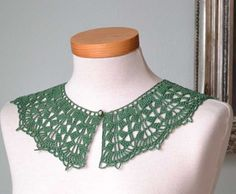 Lace crochet collar green cotton F566 by Berniolie on Etsy