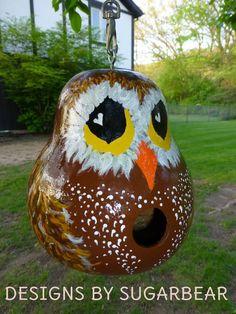 Hootie Owl Hand Painted Gourd Birdhouse by DesignsbySugarbear