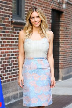 Katharine McPhee – the 'Late Show with Stephen Colbert' in New York City Mini Shirt Dress, Sweatshirt Dress, Tee Dress, Dress Shoes, Shoes Heels, Satin Midi Skirt, Lace Skirt, Tailored Jumpsuit, Katharine Mcphee