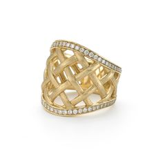 Alson Signature Collection Wide Lattice Diamond Ring, Fashioned in 18K Yellow Gold, Featuring Round Diamonds =.60cts Total Weight