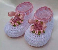 Crochet Baby Shoes ROSY christening baby set Crochet pattern by Luba Davies - Crochet Shoes Pattern, Booties Crochet, Crochet Baby Shoes, Crochet Baby Clothes, Crochet Slippers, Baby Booties, Crochet Patterns, Crochet Baby Blanket Beginner, Baby Knitting