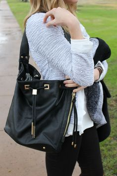 See how I styled my favorite bucket bag on the blog! http://styleasyoumay.com/contrast-trim-cardi/